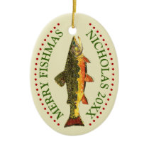 Personalize It! Brook Trout Fishing Ceramic Ornament