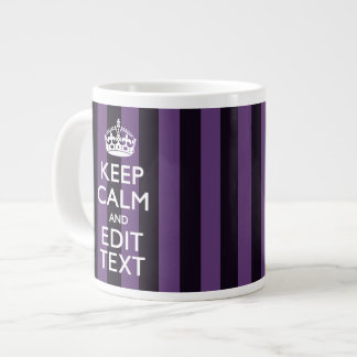 Personalize it Keep Calm Your Text Purple Stripes Giant Coffee Mug