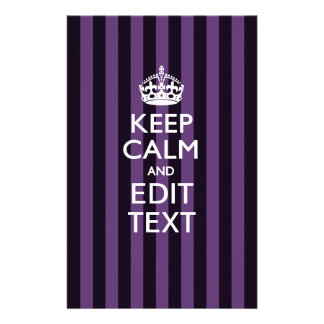 Personalize it Keep Calm Your Text Purple Stripes Stationery