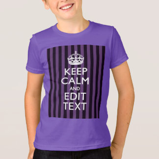 Personalize it Keep Calm Your Text Purple Stripes T-Shirt