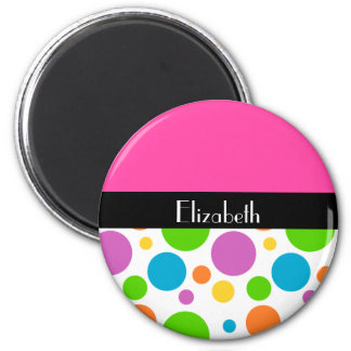 Personalize it Polka Dot pattern 2 Inch Round Magnet