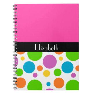Personalize it - Polka Dot Pattern Spiral Notebook