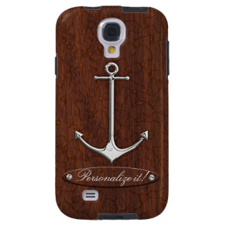 Personalize it! Wet Nautical Mahogany Anchor Steel Galaxy S4 Case