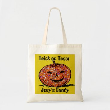 Halloween Themed Personalize Jack-o-Lantern Tote