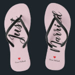 """Personalize Just Married Flip Flops in pale pink<br><div class=""""desc"""">These adorable pale pin flip flops feature """"Just Married"""" in large black script and your personalized name in black print with a red heart</div>"""