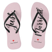 Personalize Just Married Flip Flops in pale pink