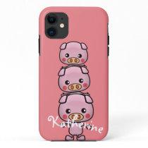 Personalize Kawaii Pigs Cartoon iPhone 11 Case