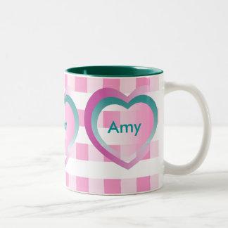 Personalize Kids Names Pink Gingham Hearts Mug