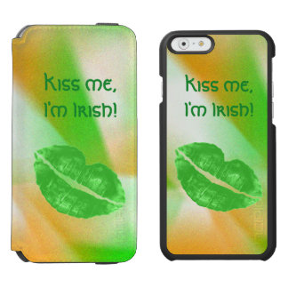 """Personalize """"Kiss me I'm Irish"""" Abstract Pattern iPhone 6/6s Wallet Case"""
