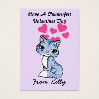 Personalize Kitten Valentines Day Cards for Kids