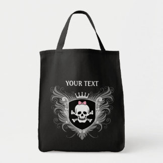 Personalize Lady Skull Crest [dark] Grocery Tote Bag