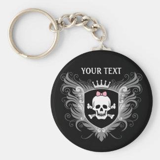 Personalize Lady Skull Crest [dark] Keychain