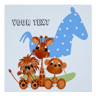 Personalize Large Canvas Jungle Babies Poster