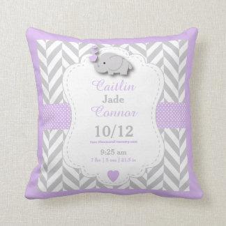 Personalize   Lavender, Gray And White Elephant Throw Pillow