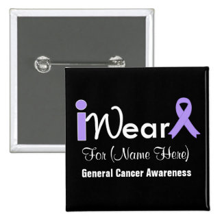 Personalize Lavender Ribbon General Cancer Pins