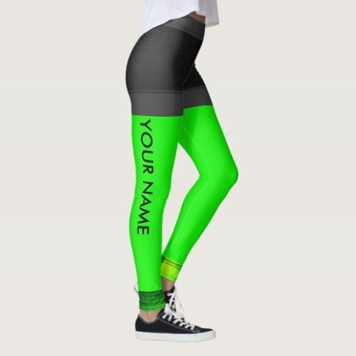 Personalize Leggings Neon Green Running Pants