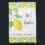 """Personalize Lemon Pattern Kitchen Towel<br><div class=""""desc"""">Personalize this country-style lemon pattern kitchen towel with your name and """"saying"""". This cheerful yellow and white color towel would be a thoughtful birthday or housewarming gift for her.</div>"""