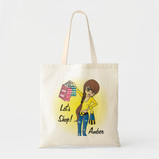 Personalize Let's Shop Diva Girl! Budget Tote Bag