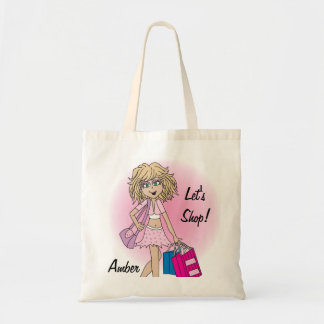 Personalize Let's Shop Girl! Budget Tote Bag