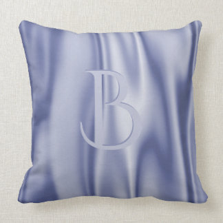 Personalize:  Light Blue Faux Satin Fabric Throw Pillow
