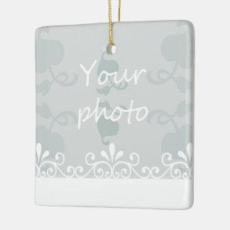 Personalize Light blue White Swirls Wedding Photo Ceramic Ornament