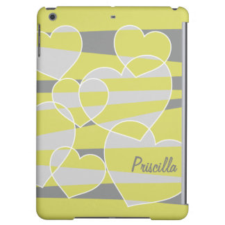 Personalize Light Green Abstract Hearts iPad Air Covers
