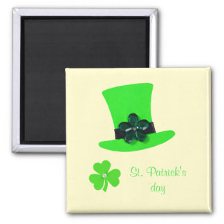 Personalize Light Green hat for St. Patrick's day 2 Inch Square Magnet
