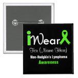 Personalize Lime Green Non-Hodgkin's Lymphoma 2 Inch Square Button