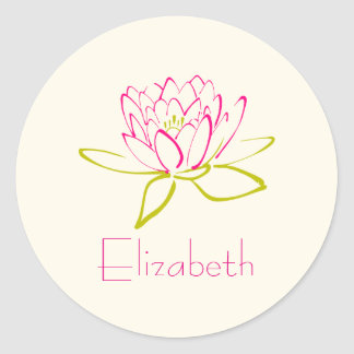 Personalize Lotus Flower / Water Lily Illustration Classic Round Sticker