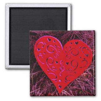 Personalize love heart purple refrigerator magnets