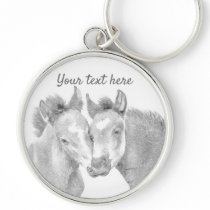 Personalize Love Horses Button Keychain