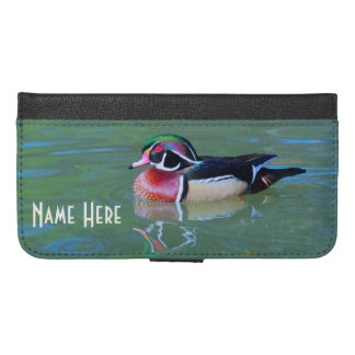 (Personalize) Male Wood Duck on pond iPhone 6/6s Plus Wallet Case