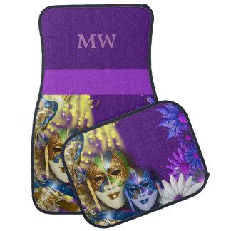 Personalize masquerade monogram Venetian masks Floor Mat