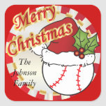 Personalize Merry Christmas Baseball Square Sticker