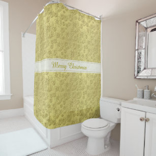 Personalize Merry Christmas Gold Poinsettias Shower Curtain