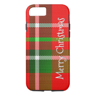"Personalize ""Merry Christmas"" Tartan Plaid Pattern iPhone 7 Case"