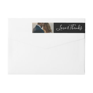 Personalize Message Love and Thanks Newlywed Photo Wrap Around Label