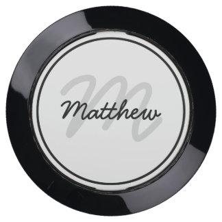Personalize: Minimalist Black and White Monogram USB Charging Station
