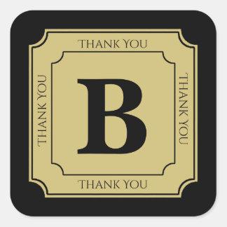 Personalize: Minimalist Black/Gold Bold Initials Square Sticker