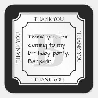 Personalize: Minimalist Black/White Bold Initials Square Sticker