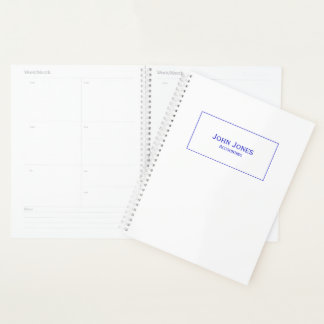 Personalize:  Minimalist Blue Name and Department Planner