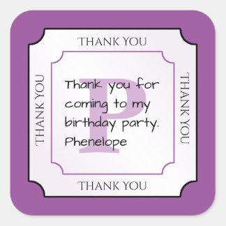 Personalize: Minimalist Purple/White Bold Initials Square Sticker