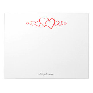 Personalize: Minimalist's Valentine's Day Hearts Notepad