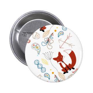 Personalize Modern Fox  Woodland Pattern Pinback Button