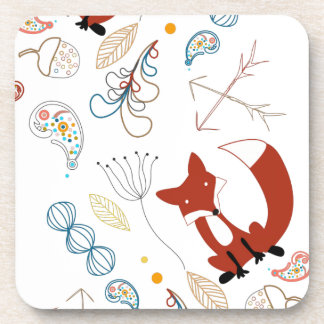 Personalize Modern Fox Woodland Pattern Drink Coasters