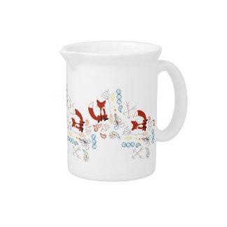 Personalize Modern Fox  Woodland Pattern Drink Pitcher
