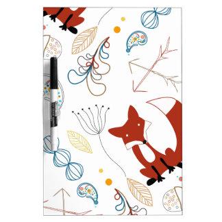 Personalize Modern Fox  Woodland Pattern Dry Erase Board