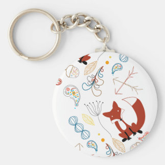 Personalize Modern Fox  Woodland Pattern Key Chain