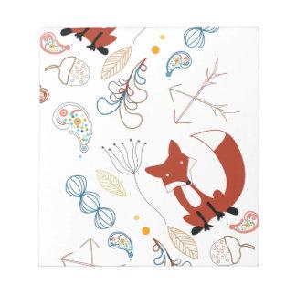 Personalize Modern Fox  Woodland Pattern Notepad