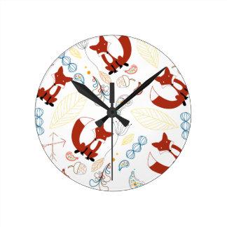 Personalize Modern Fox  Woodland Pattern Round Clock